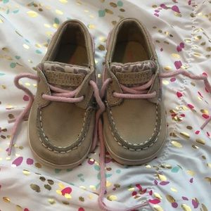 Baby Sperry Topsiders. Tan and pink leopard.